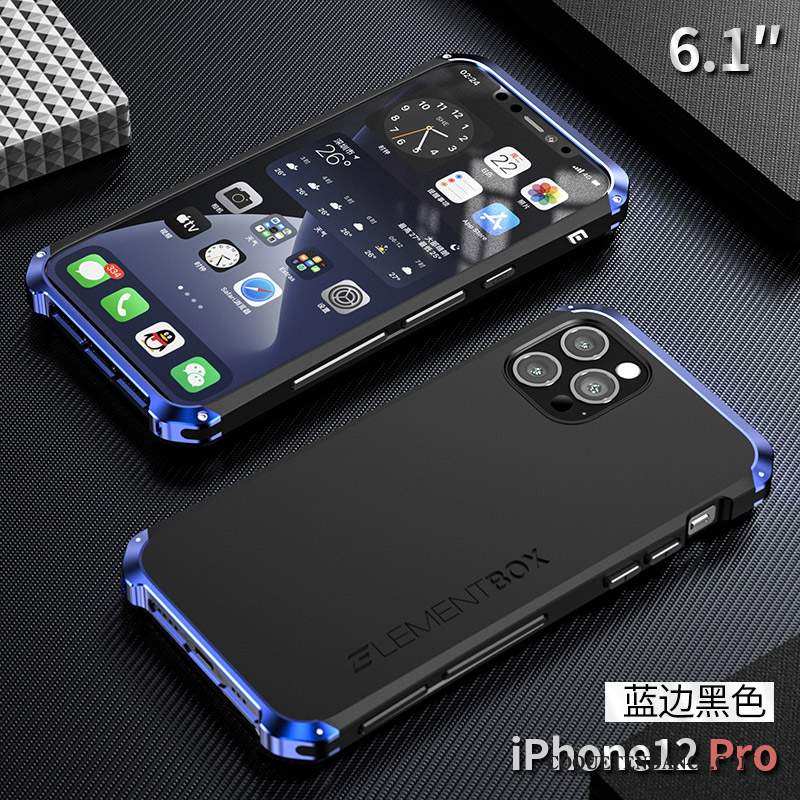 iPhone 12 Pro Coque Protection Bleu Métal Incassable
