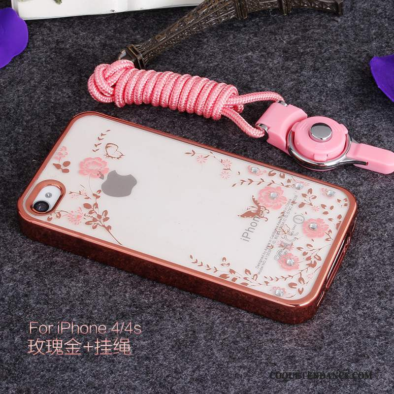iPhone 4/4s Coque Étui Strass Incassable Rose Support