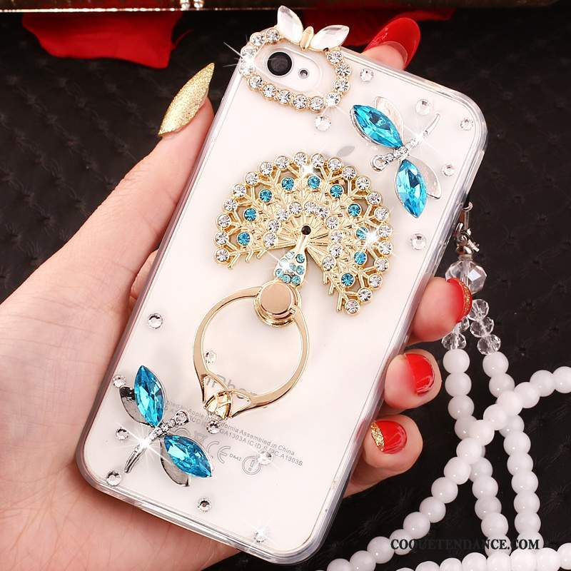 iPhone 4/4s Coque Ornements Suspendus Bleu Protection Strass Support