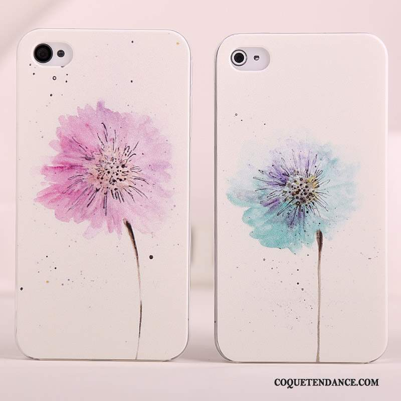 iPhone 4/4s Coque Simple Blanc Étui Rose