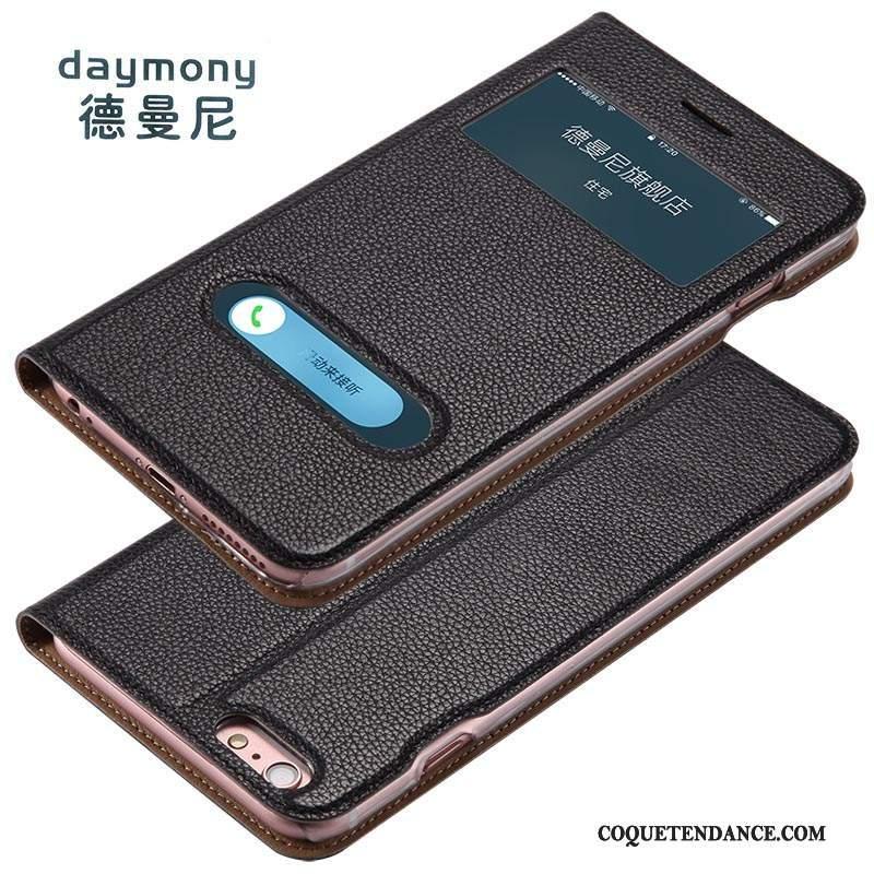 iPhone 6/6s Plus Coque Cuir Véritable Housse Marron Business Étui