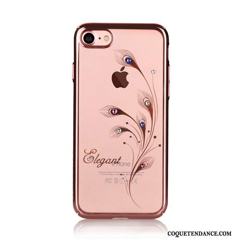 iPhone 7 Plus Coque Rose Transparent Nouveau Protection Strass
