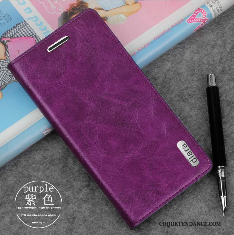 iPhone 8 Coque Étui En Cuir Incassable Violet Protection Tendance
