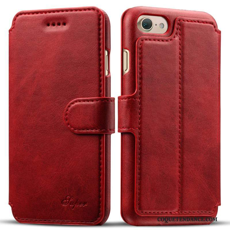 iPhone 8 Coque Cuir Véritable Nouveau Clamshell Business Vin Rouge