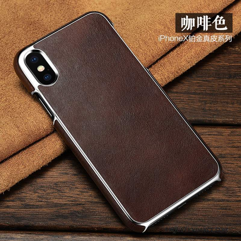 iPhone X Coque Étui Marron Étui En Cuir Protection Cuir Véritable
