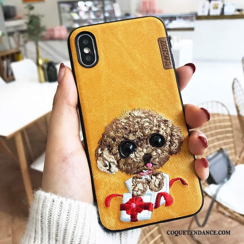 iPhone X Coque De Téléphone Broderie Chiens Jaune Nouveau