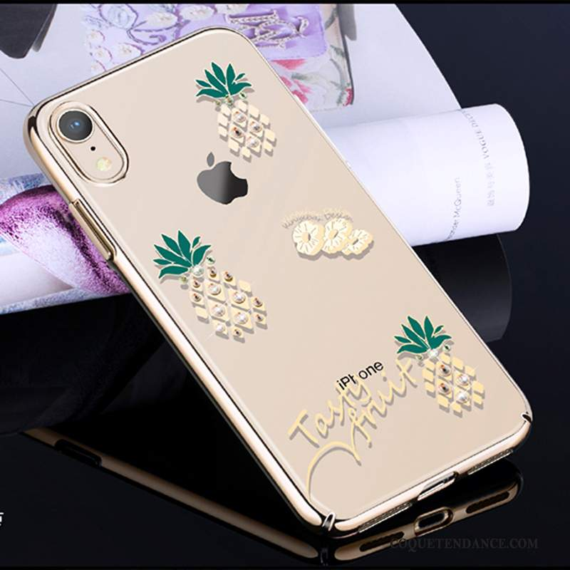 iPhone Xr Coque Incruster Strass Luxe Placage Étui