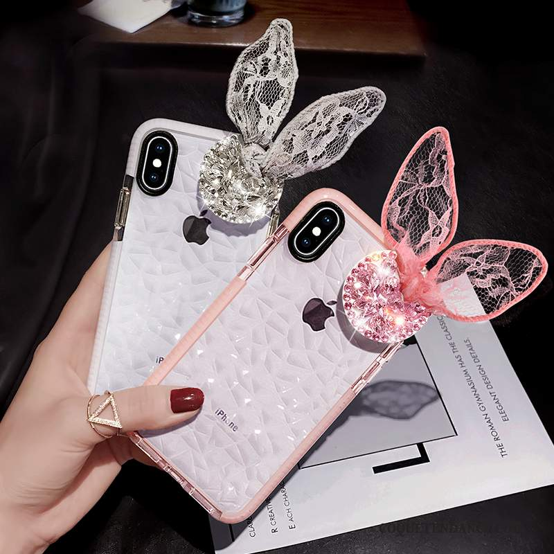 iPhone Xs Coque Incassable Strass Charmant Rose Ballon